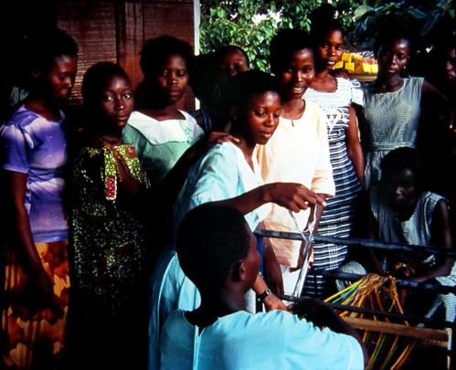 Bolgatanga in northern Ghana.  Women learning to weave.