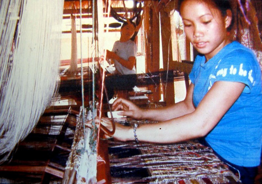Silk Weaver in Vientaine, Laos.