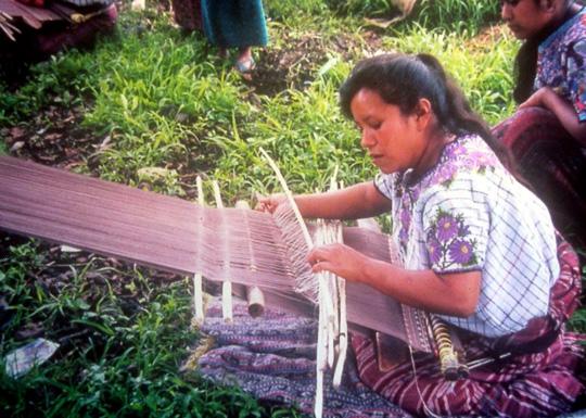 Village of Santiago Atitlan, Guatemala.  Backstrap weaving