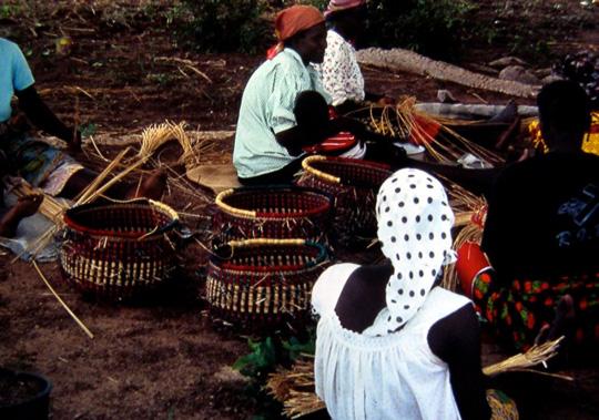 Bolgatanga, Ghana.  Basket weaving.